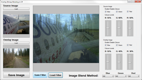 Blending Bitmap images using colour filters
