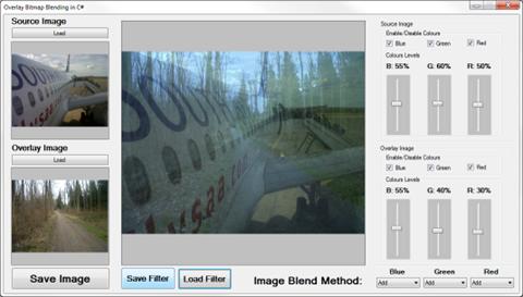 Blending Bitmap images using colour filters
