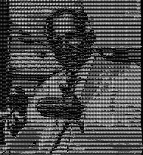 Sir Tim Berners-Lee, 4 Pixels Per Character, 16 Characters, Font Size 6, Zoom 100